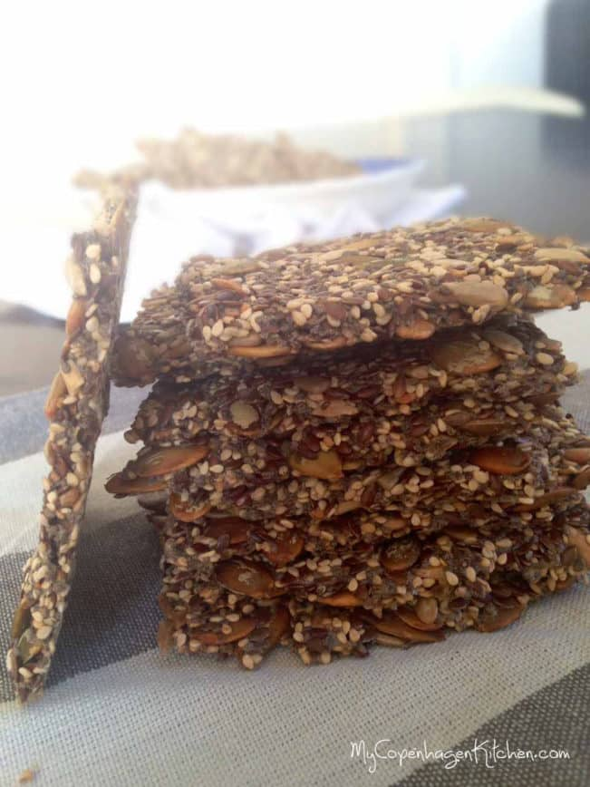 Delicious chia crackers - grainfree, glutenfree, egg free, low carb and paleo --> MyCopenhagenKitchen.com