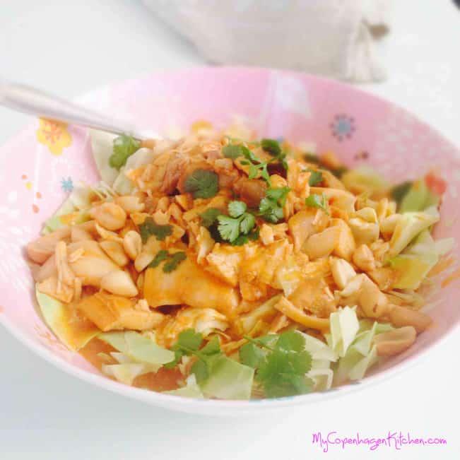 LCHF favorite! Chicken in a creamy peanutbutter sauce - dairyfree paleo option. Recipe here: MyCopenhagenKitchen.com