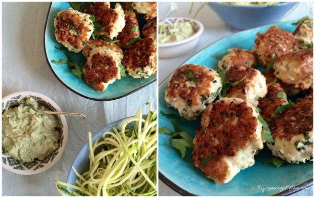 Easy real food for families: Chicken meatballs with squashghetti and creamy pesto dip. --> MyCopenhagenKitchen.com