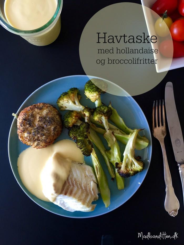Ovnbagt havtaske med hollandaise og broccolifritter --> Madbanditten.dk