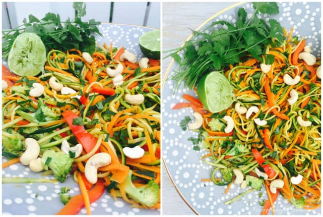 Asian inspired stir-fried veg-noodles with cashews and coriander