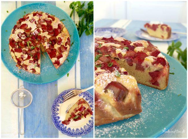 Rabarber-mandel-kage - uden sukker, gluten og kornprodukter. Low carb, LCHF og paleo --> Madbanditten.dk