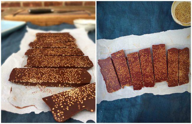 Dark chocolate bark with sesame seeds.