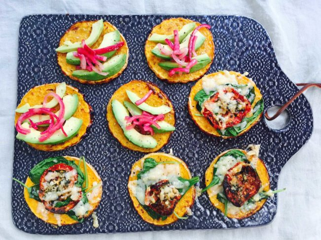 Low carb vegetarian lunch: Open faced pumpkin sandwiches with delicious toppings --> MyCopenhagenKitchen.com