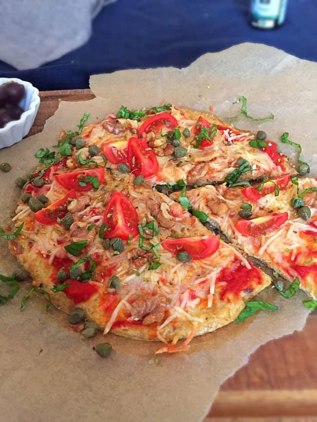 Tuna pizza - new low carb pizza recipe - pizza crust made with tuna --> MyCopenhagenKitchen.com
