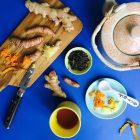 Varmende te med frisk ingefær og gurkemeje - en supersund start på dagen! --> Madbanditten.dk