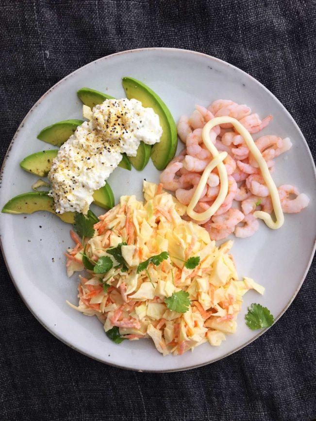 Hverdagsfrokost - rejer, avokado