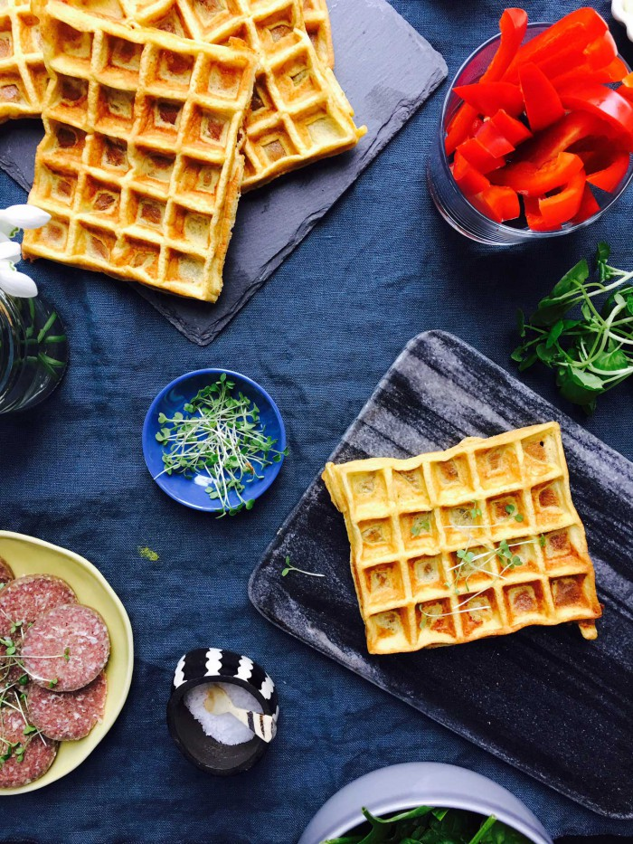 Cream cheese waffles - perfect grain-free and gluten-free alternative to bread in the lunch box --> MyCopenhagenKitchen.com