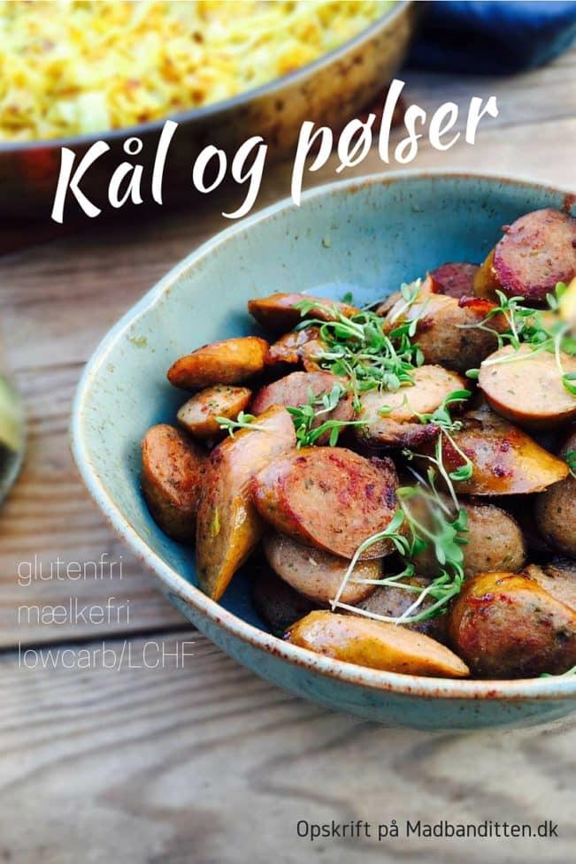 Kål og pølser. Hurtig, nem og velsmagende aftensmad. Glutenfri, mælkefri og lowcarb/LCHF --> Madbanditten.dk