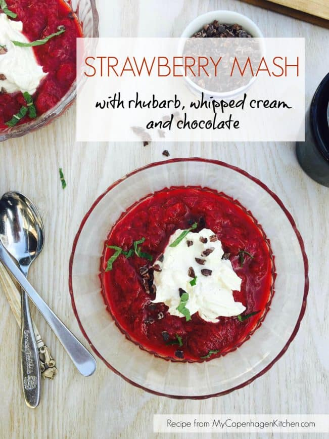 Strawberry mash with rhubarb, vanilla whipped cream and chocolate - a nice and light sugar-free dessert from MyCopenhagenKitchen.com