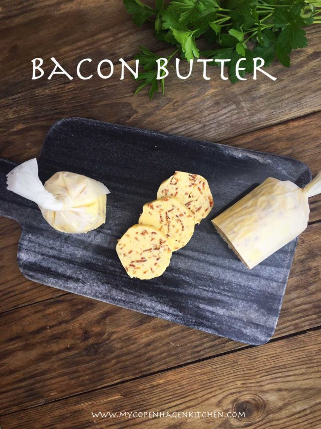 Bacon butter - compound butter with bacon bits. Delicious keto recipe for those warm summer BBQ nights - Recipe here: MyCopenhagenKitchen.com
