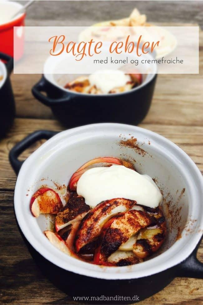 Bagte æbler med kanel og cremefraiche - dejlig, nem og sund efterårsdessert. Opskrift her: