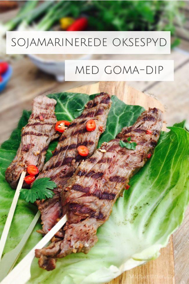 Sojamarinerede oksespyd med goma-dressing - lækre, møre og spicy oksespyd med cremet og lækker sesam-dressing (goma dip)
