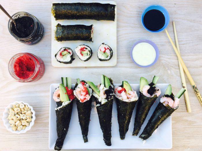 Sushi-cones med rejer og wasabidip