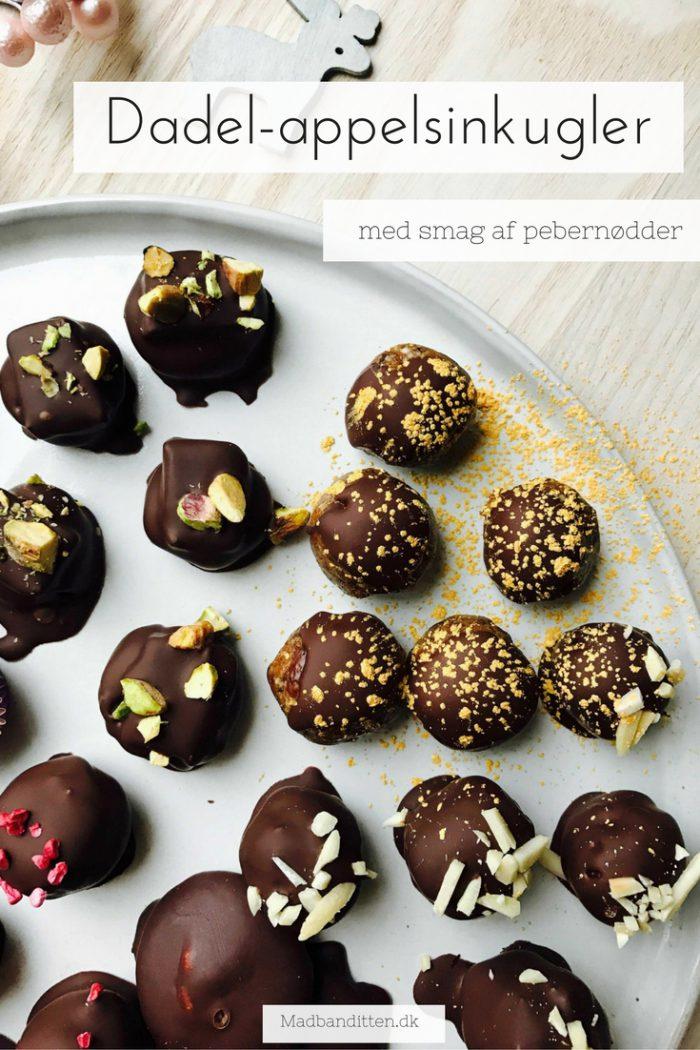 Dadel-appelsinkugler med chokolade