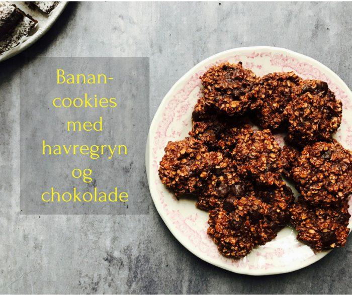 Banancookies med havregryn og chokolade