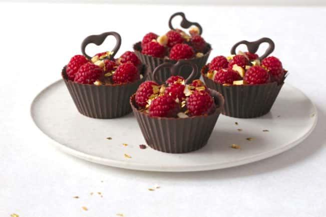 chokolademousse med hindbær