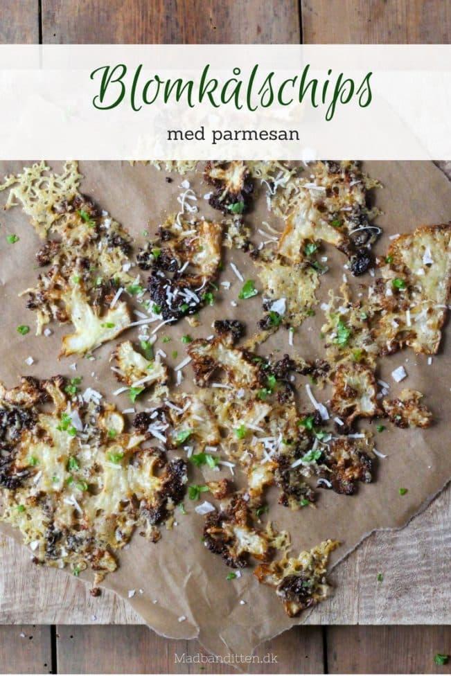 Blomkålschips med parmesan - lækker opskrift på parmesanristet blomkål