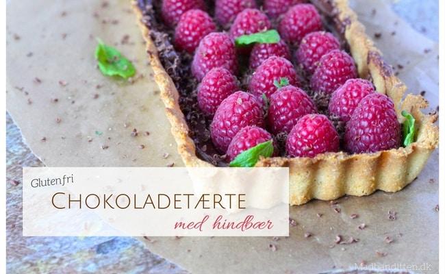 Chokoladetærte med friske hindbær