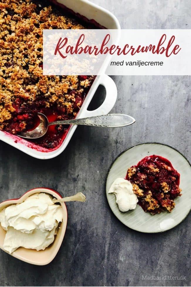 Rabarbercrumble med vaniljecreme - sund opskrift på glutenfri rabarbercrumble