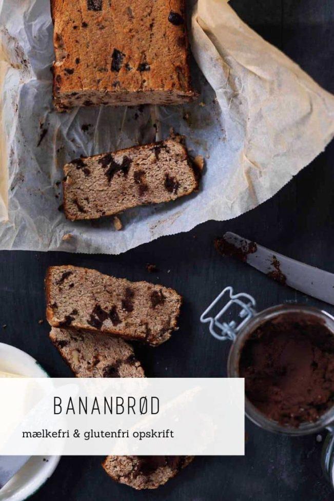 Bananbrød med chokolade og valnødder - mælkefri og glutenfri opskrift