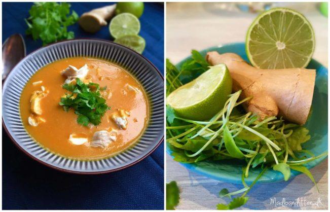 Cremet græskarsuppe med smag af Thailand