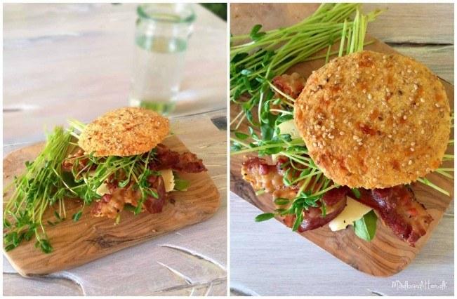 LCHF burgerboller med ost og bacon