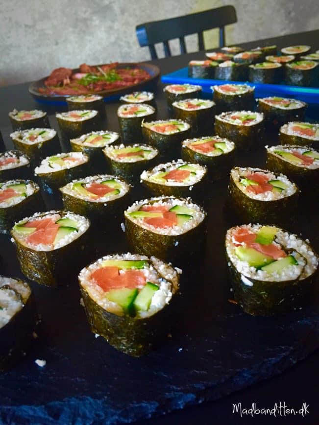 Sushi med blomkålsris Low carb sushi uden ris --> madbanditten.dk