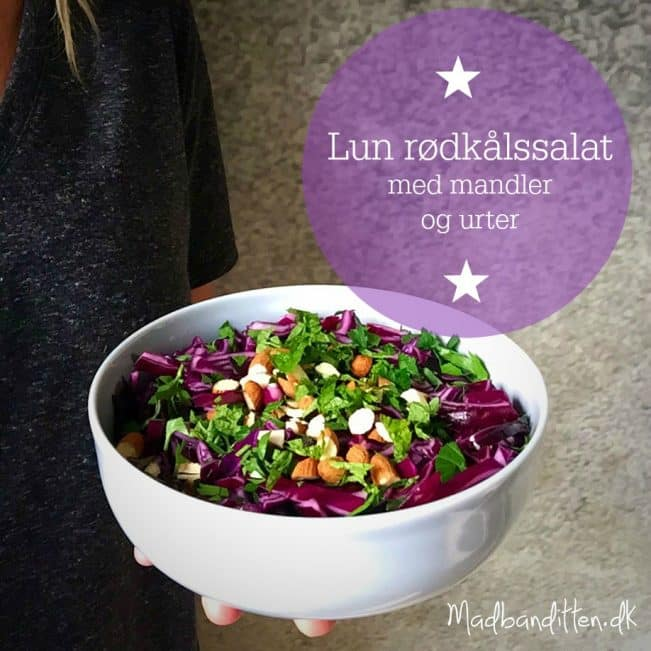 Lun rødkålssalat med mandler og urter --> Madbanditten.dk