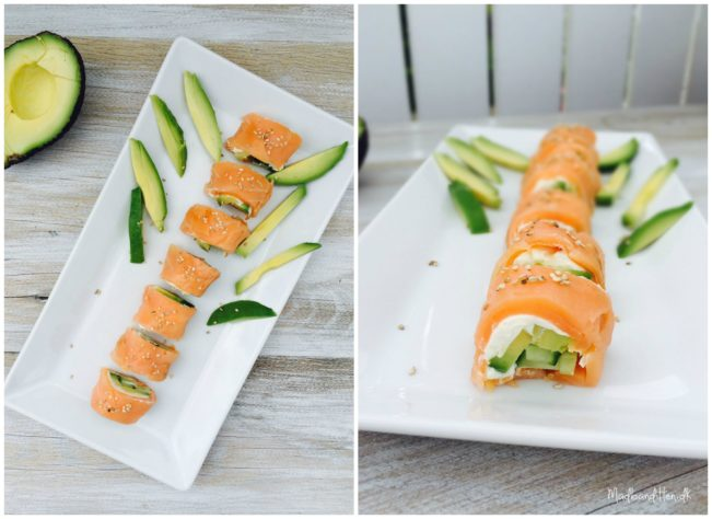 Sushi uden kulhydrater! Lækre lakseruller med avokado og peberrodscreme --> Madbanditten.dk