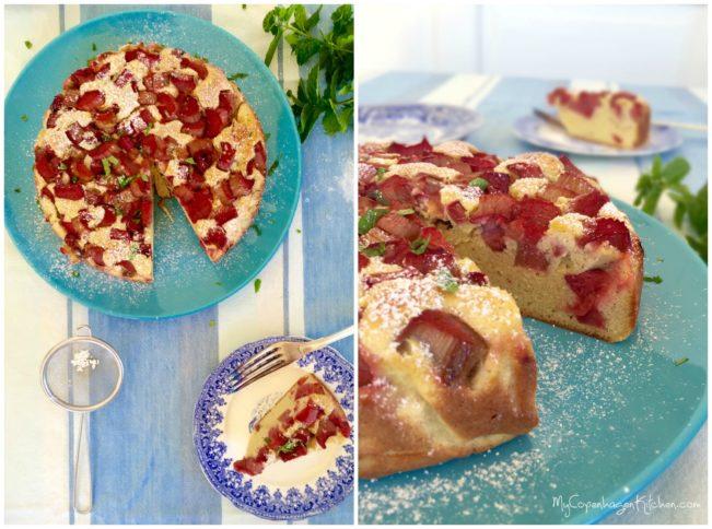 Rhubarb almond cake. Glutenfree, grain free, sugarfree, dairy free and low carb --> MyCopenhagenKitchen.com