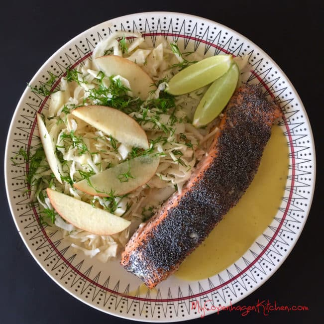 Oven baked salmon with poppy seeds and fennel-cabbage-salad with apple and dill. -->MyCopenhagenKitchen.com