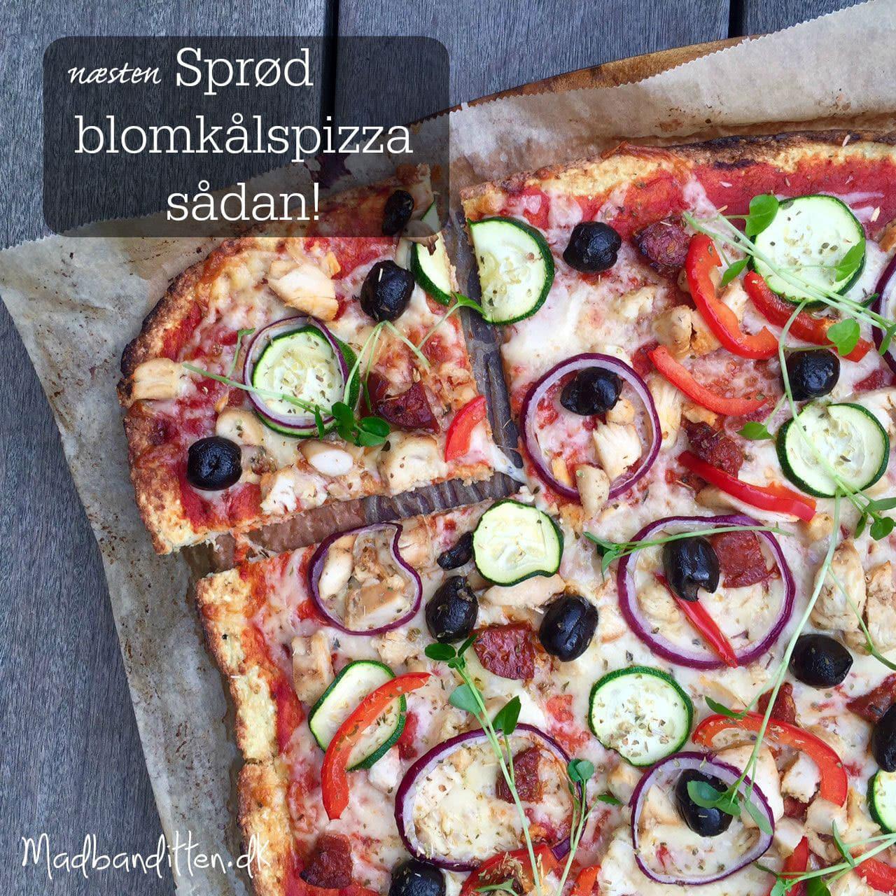 Blomkålspizza : Sådan laver du sprød blomkålspizza! Hemmeligheden bag en sprød blomkålsbund! --> Madbanditten.dk