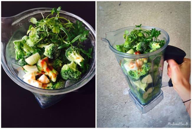 Sådan laver du en ægte greenie/grøn smoothie - uden frugt - 100% grøntsager --> Madbanditten.dk