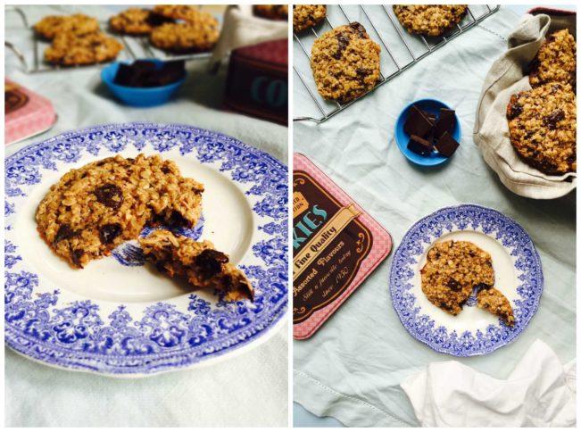 Havregrynscookies med chokolade - sprøde og lækre, glutenfrie og næsten sukkerfrie --> Madbanditten.dk