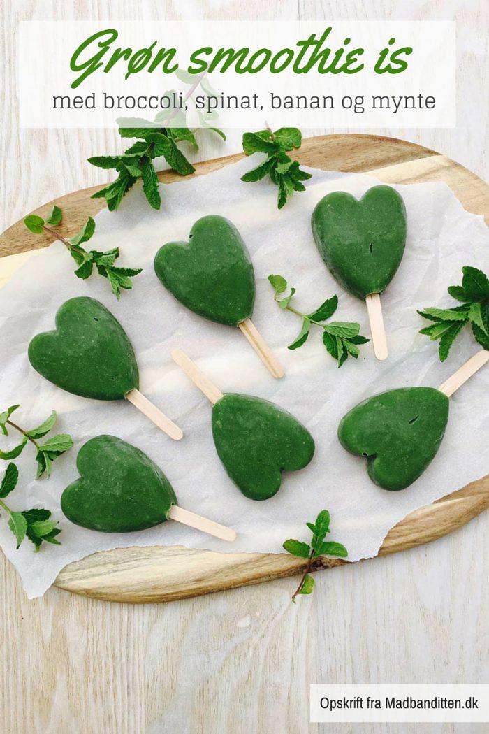 Grøn smoothie ispinde - opskrift på sund is til ungerne. Disse er lavet af bl.a. broccoli og spinat men smager sødt og dejligt. Se opskrift her: Madbanditten.dk