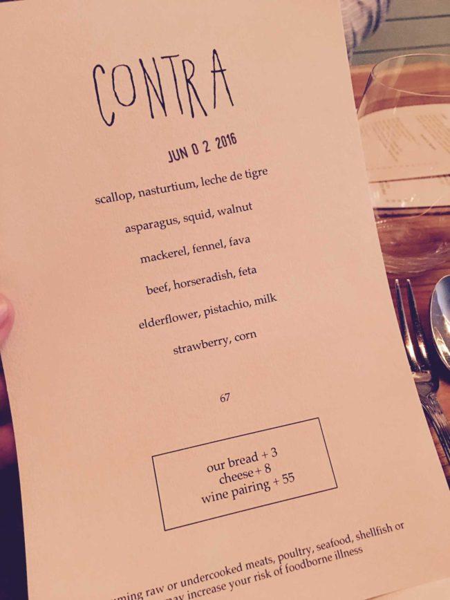 Contra NYC menu