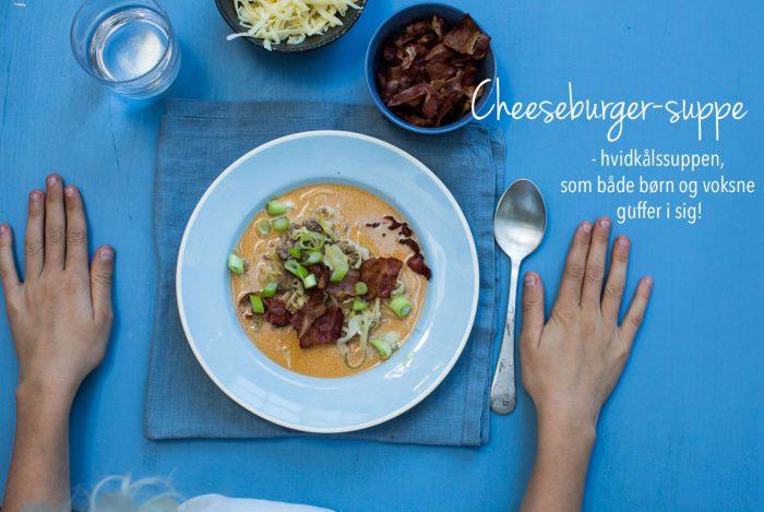 Cheeseburger-suppe - en suppe med hvidkål, der smager af cheeseburger, og som både børn og voksne guffer i sig! Opskrift her: