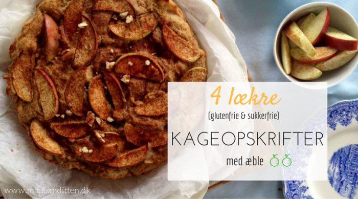 4 lækre kageopskrifter med æble - glutenfrie, sukkerfrie og low carb. Opskifter her: