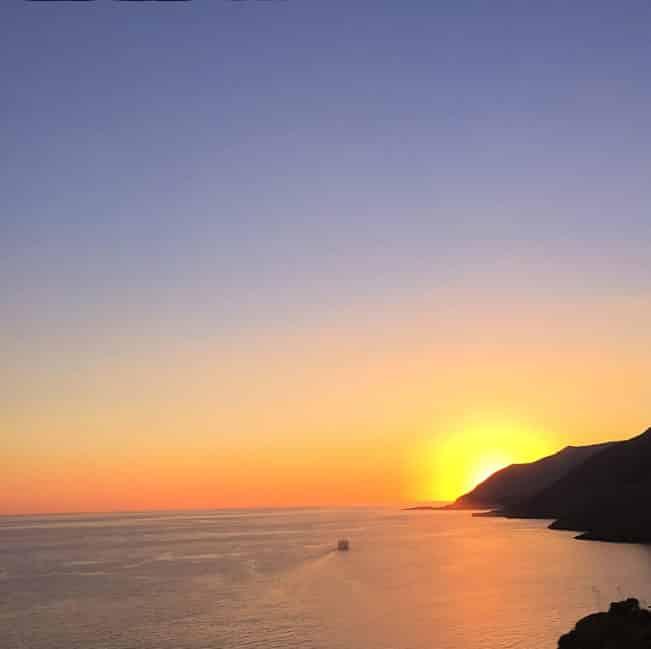 Solnedgang over Chora Sfakia, Kreta