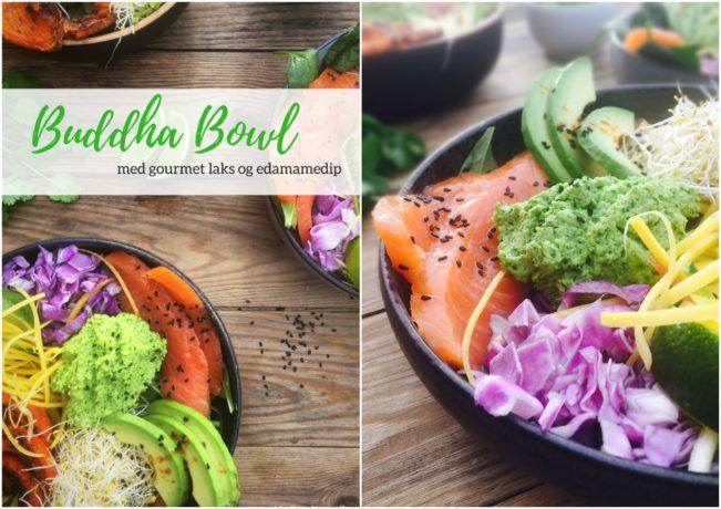 Buddha Bowl med gourmet sliced laks og edamamedip - low carb og LCHF opskrift