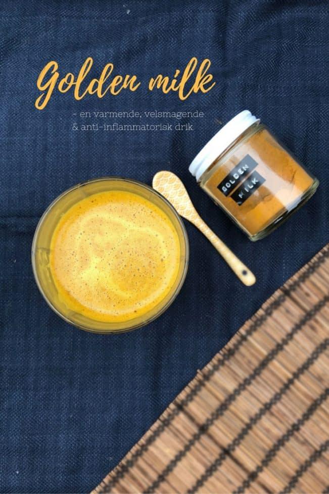 Golden milk - varmende, anti-inflammatorisk og velsmagende drik med gurkemeje og ingefær.