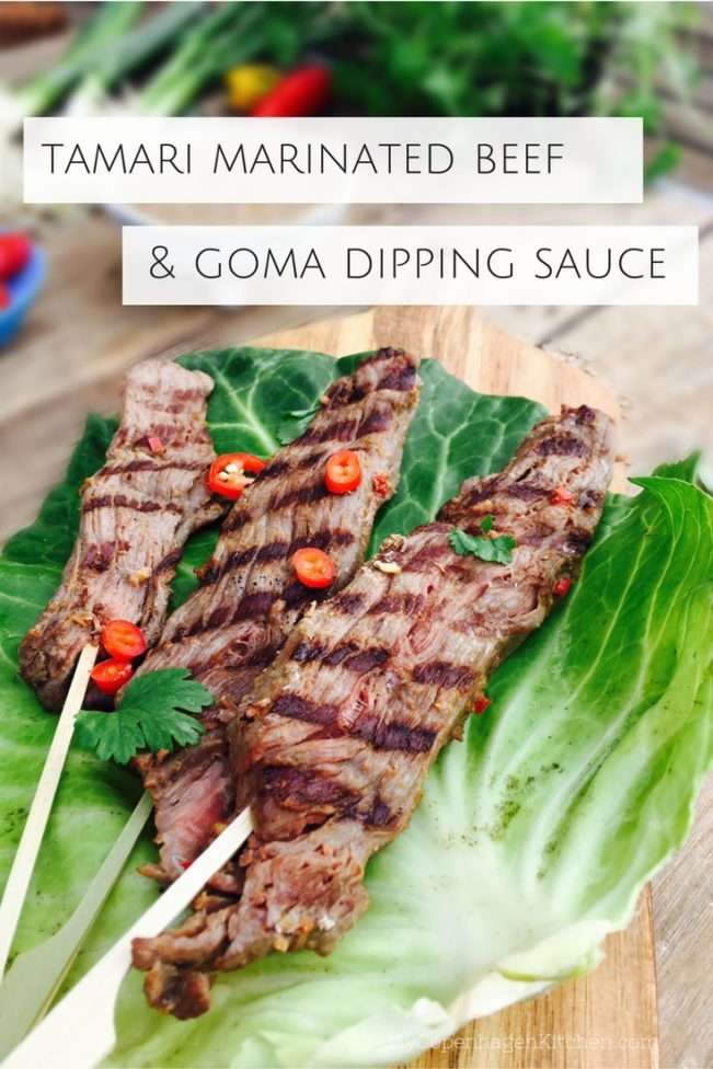 Tamari marinated beef skewers with homemade Goma dipping sauce - Low carb, Paleo, keto dinner here: