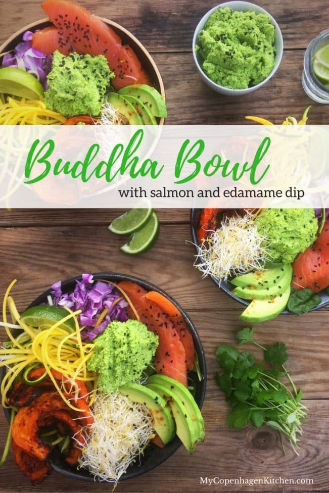 Buddha Bowl with salmon and edamame dip - delicious and filling low carb lunch. Recipe here: