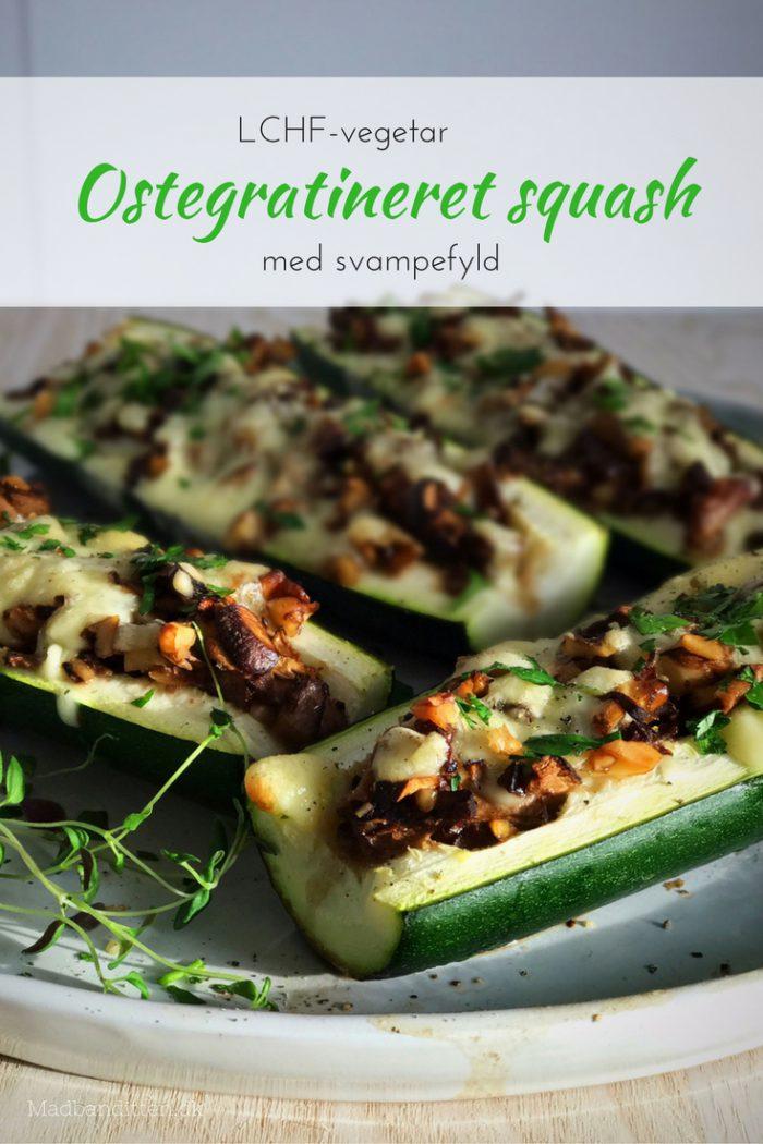 Ostegratineret squash med svampefyld - nem og lækker vegetarisk LCHF mad