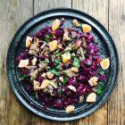 Salat af julerester med rødkål, and, mandarin og ristede valnødder. Opskrift her: