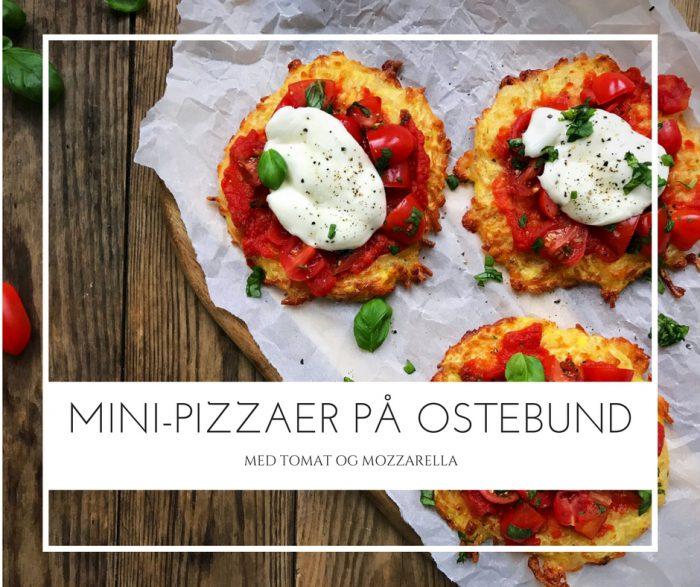 Mini-pizzaer på ostebund med tomat og mozzarella. Naturligt glutenfri og low carb/LCHF - Opskrift her: