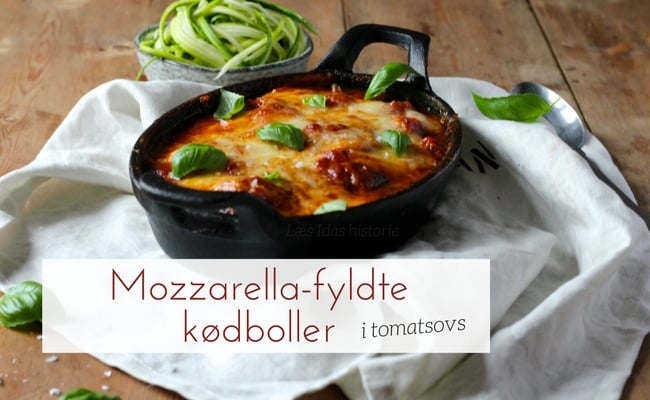 Mozzarella-fyldte kødboller med tomatsovs - opskrift på lækre kødboller med ostefyld