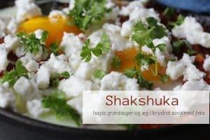 Shakshuka - lækker opskrift på den nordafrikanske ret med bagte grøntsager og æg med feta - lækker og anderledes morgenmad.