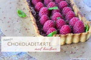 Chokoladetærte med hindbær - glutenfri opskrift på den lækreste tærte med chokoladeganache og hindbær